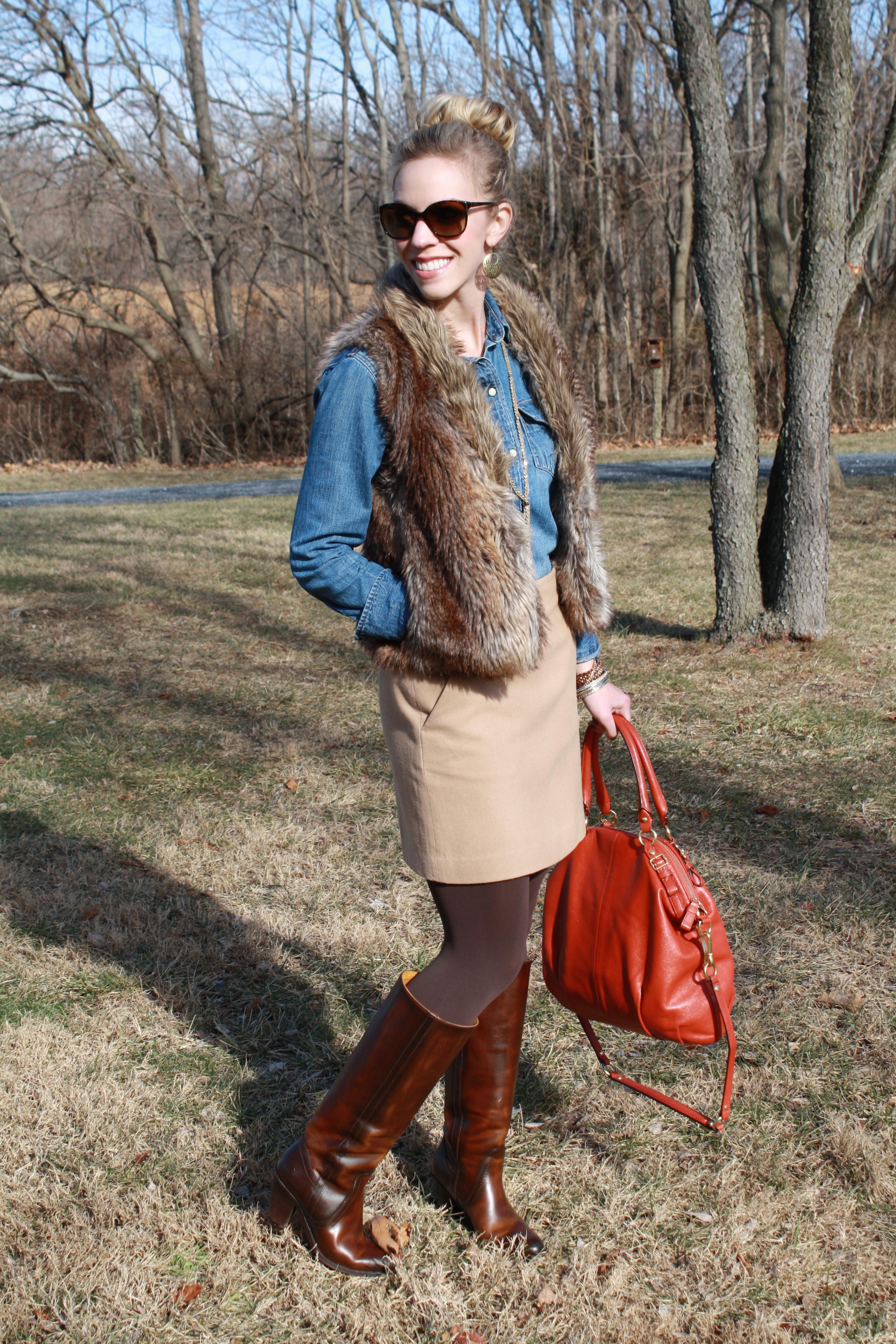skirt denim western flannel shirt fur woods vest boots faux tights riding brown meagan frye meagansmoda