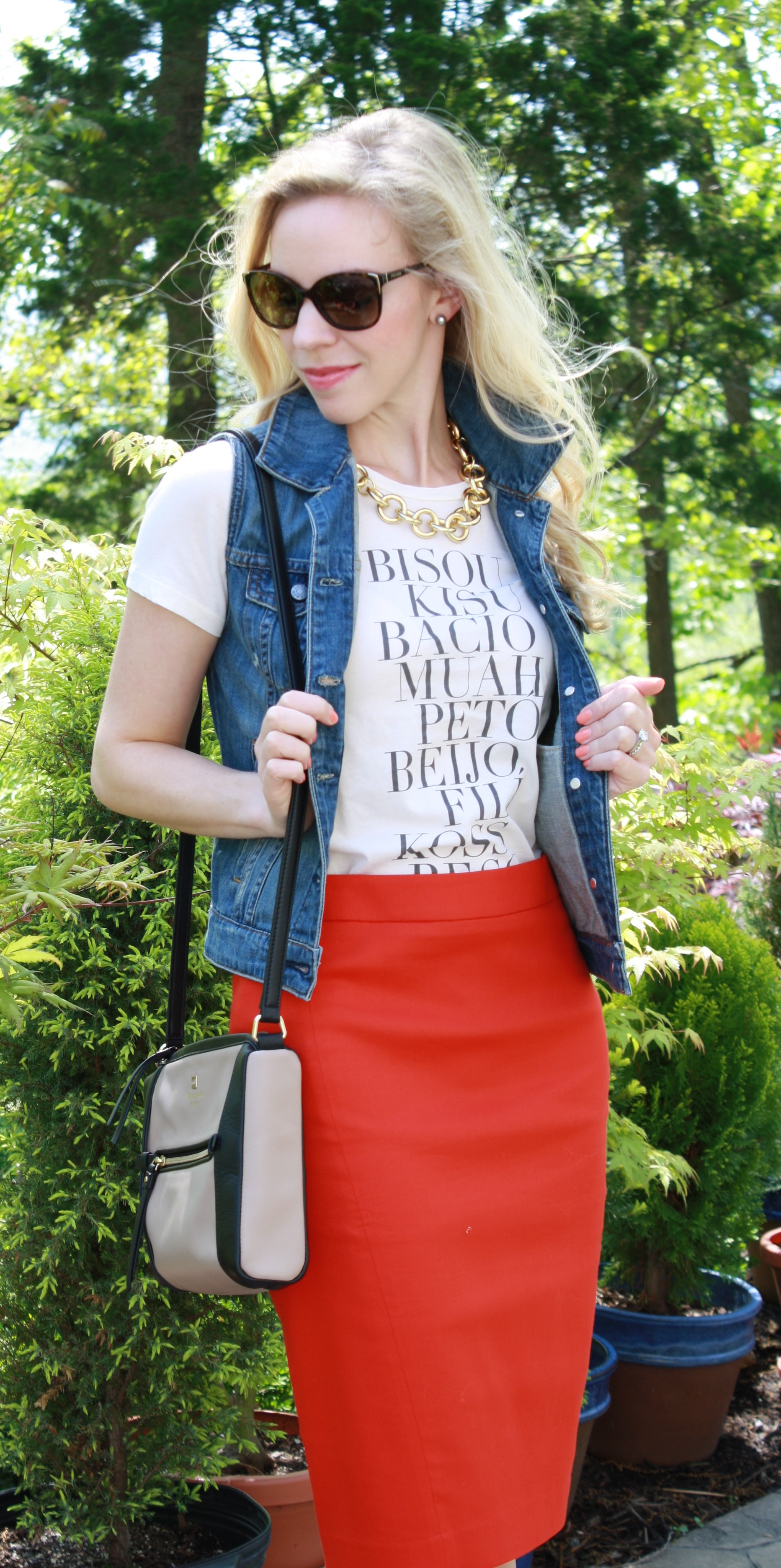 kisses graphic tee denim vest pencil skirt amp leopard