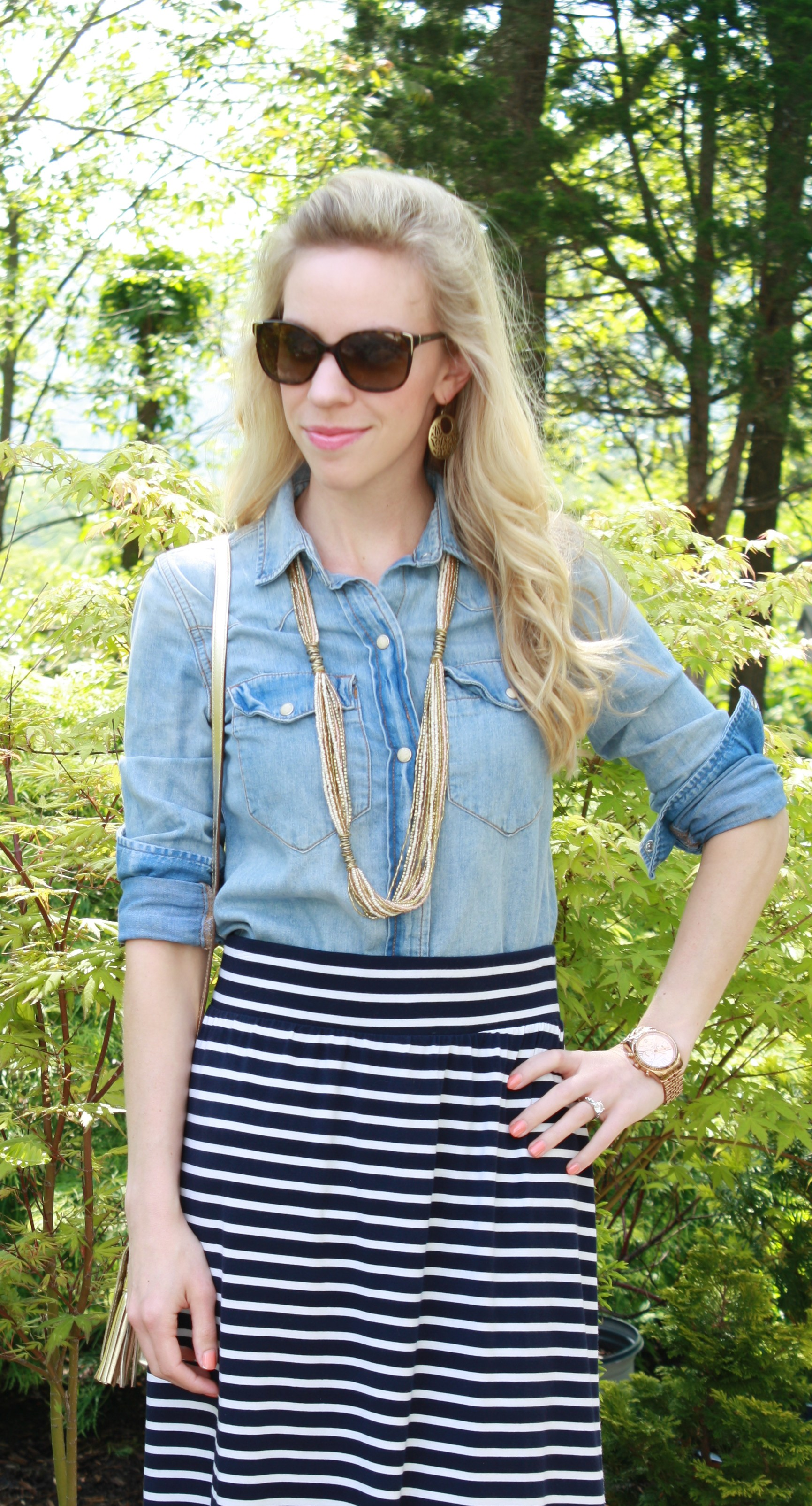 dbe001617d91 J. Crew chambray denim shirt, long seed bead necklace, navy striped maxi  skirt, gold jewelry