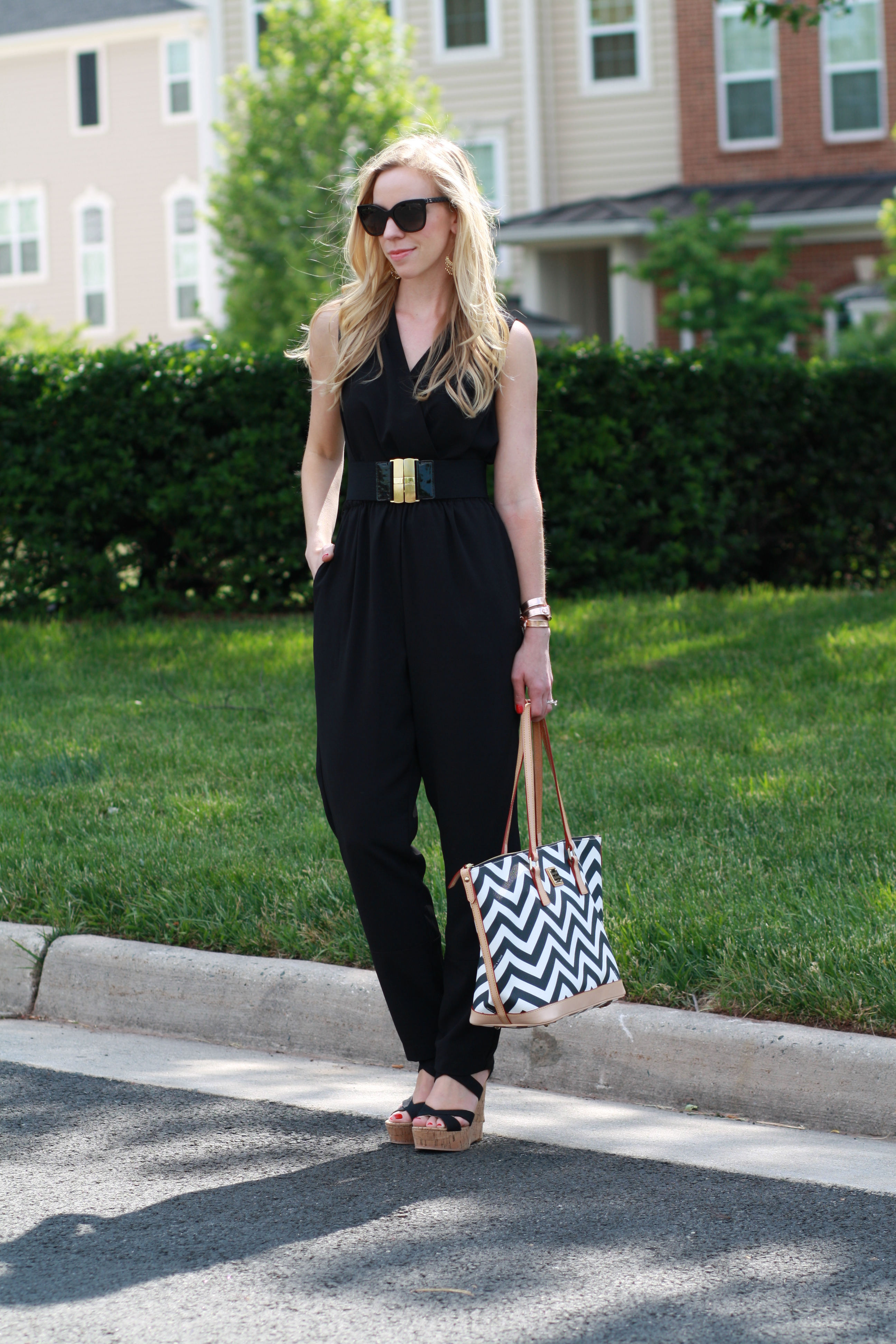 One And Done Black Jumpsuit Wide Belt Amp Chevron Print