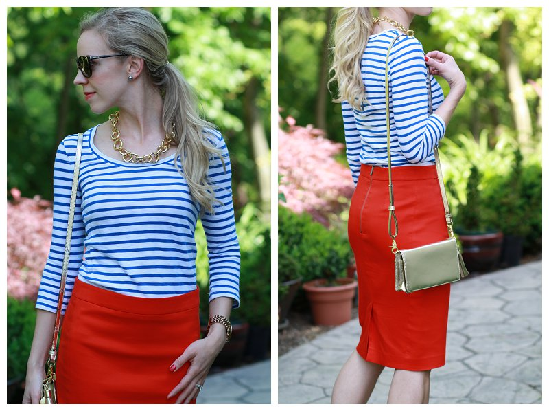 pink prada - In Memoriam: Blue stripes, Red pencil skirt \u0026amp; Gold accessories }