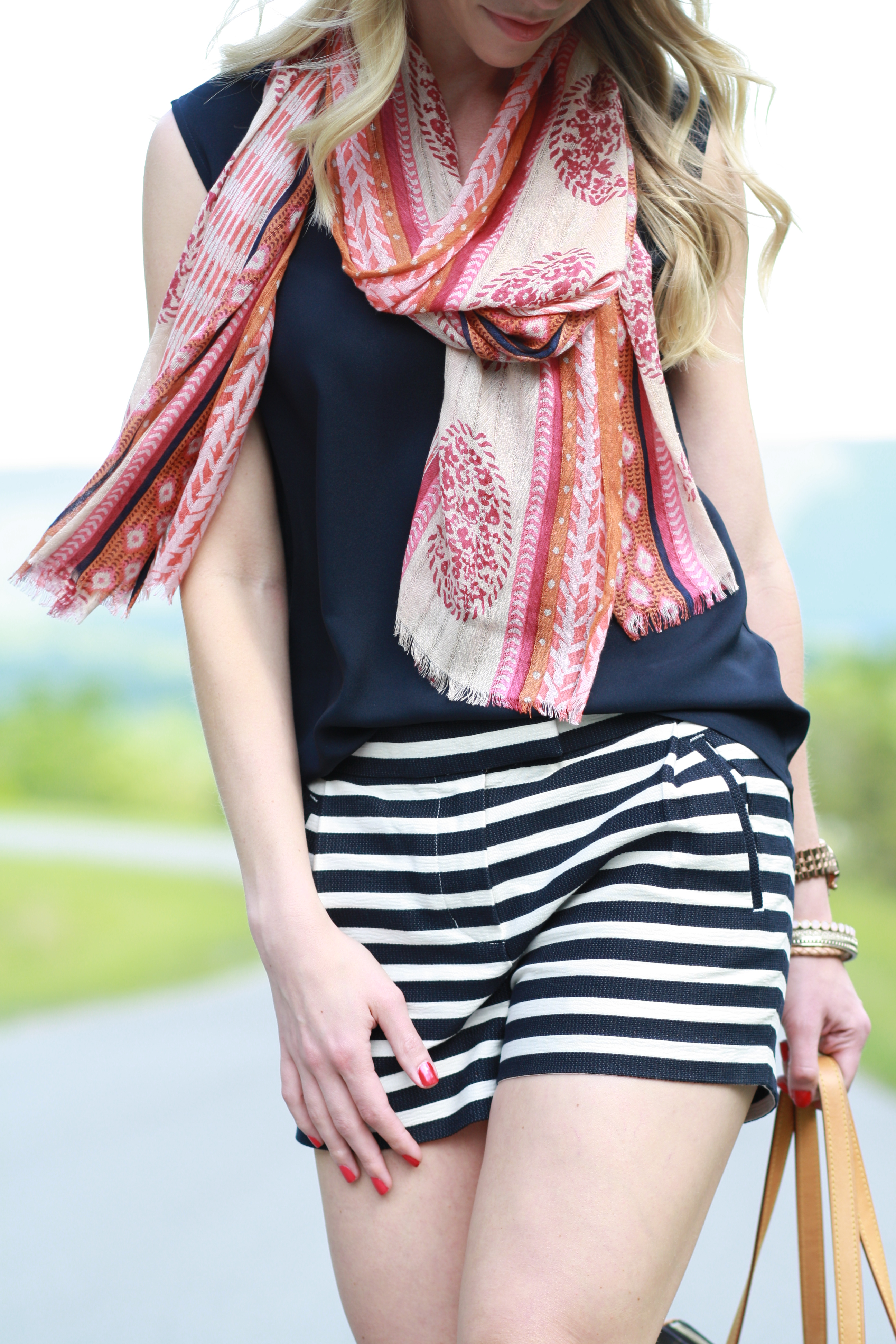 Summer Stripes Patterned Scarf Navy Shorts Amp Block