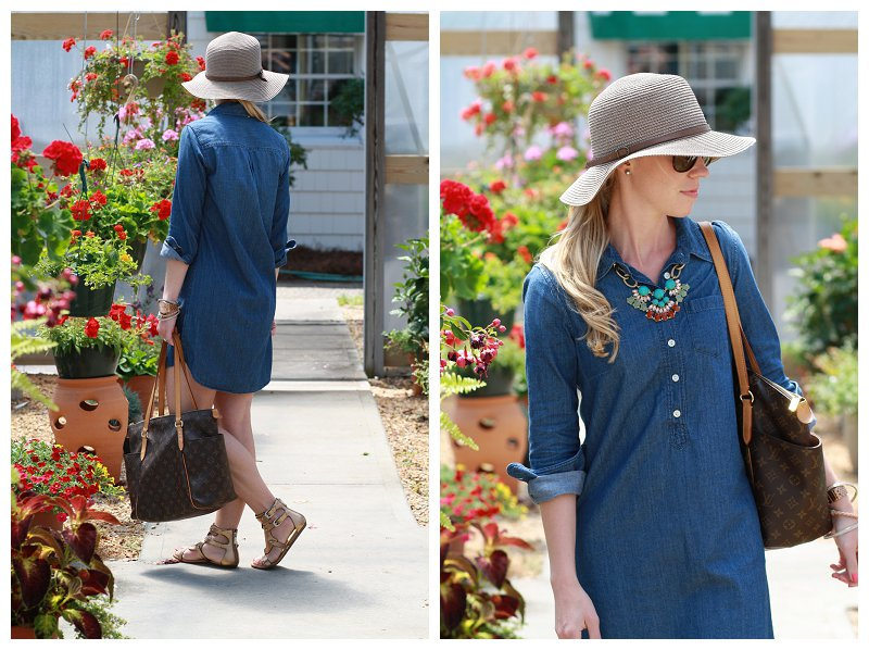 7ffa2655d77ef5 J. Crew chambray denim shirt dress, brown floppy hat, turquoise coral  necklace, Louis Vuitton MM tote, bronze gladiator sandals