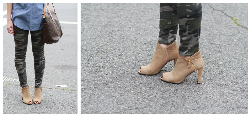 Stuart Weitzman tan suede peep-toe Jump booties, camo skinny legging pants, Louis Vuitton tote, denim tunic