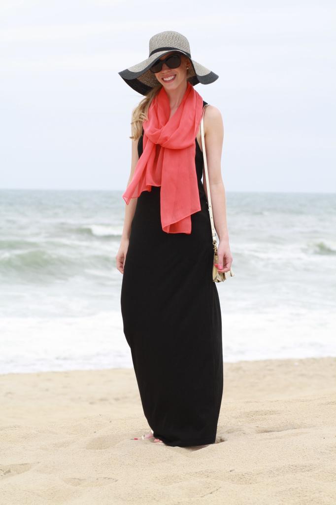 Beach Layers Black Maxi Dress Coral Scarf Amp Floppy Hat