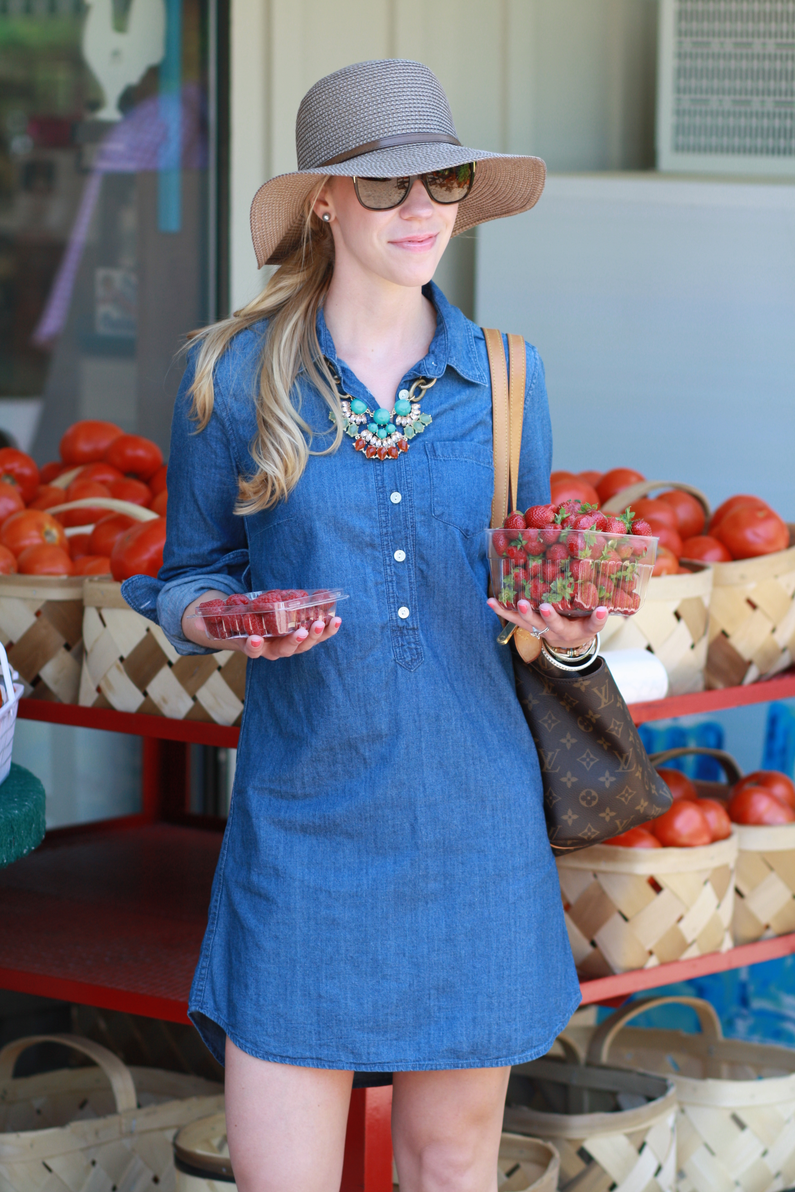 8096055aca70b5 brown floppy straw hat, chambray denim shirt dress, turquoise coral  statement necklace, Prada sunglasses