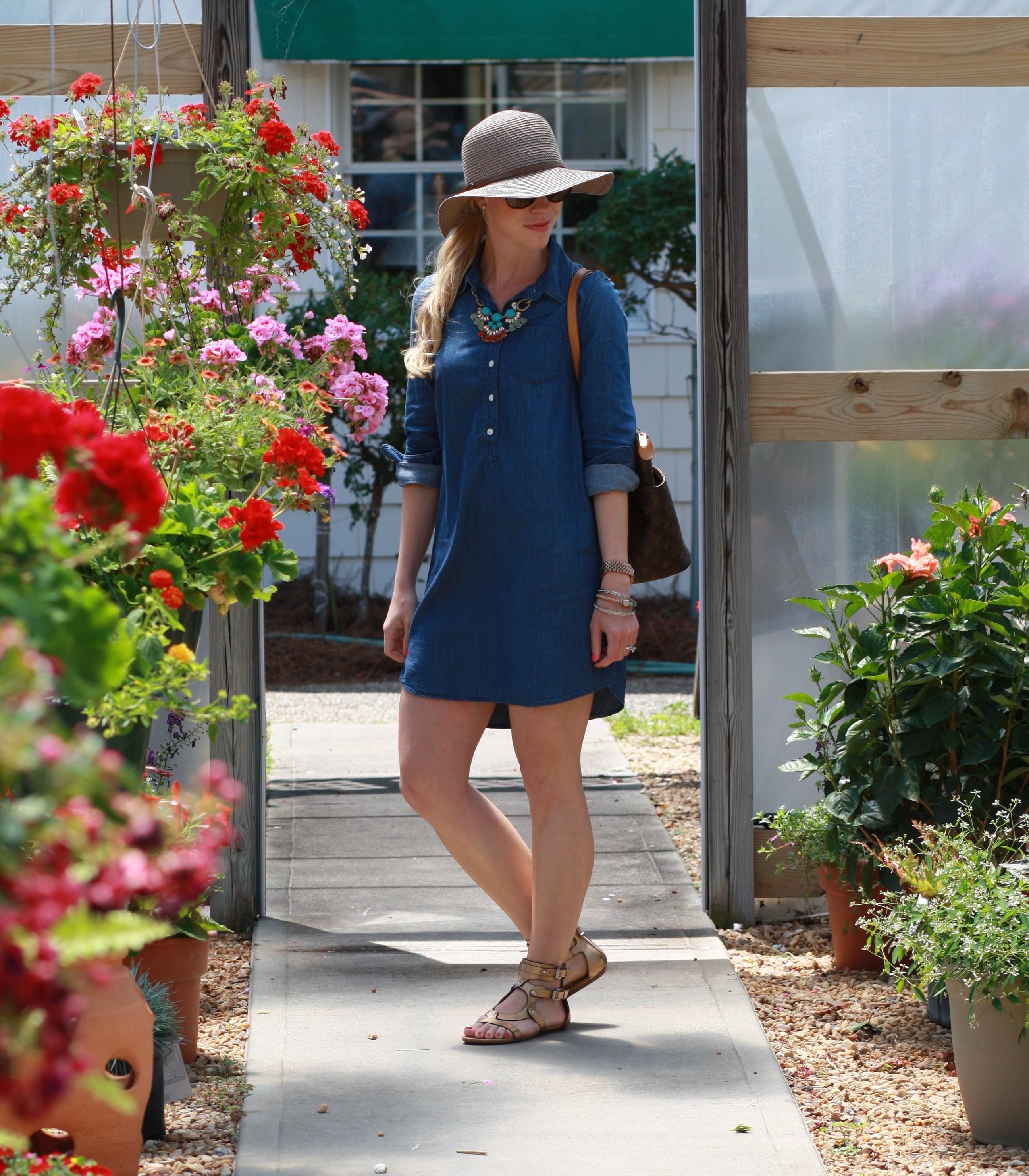 bd4228cc990da7 brown floppy straw hat, turquoise necklace, chambray denim shirt dress,  Louis Vuitton MM tote, bronze gladiator sandals