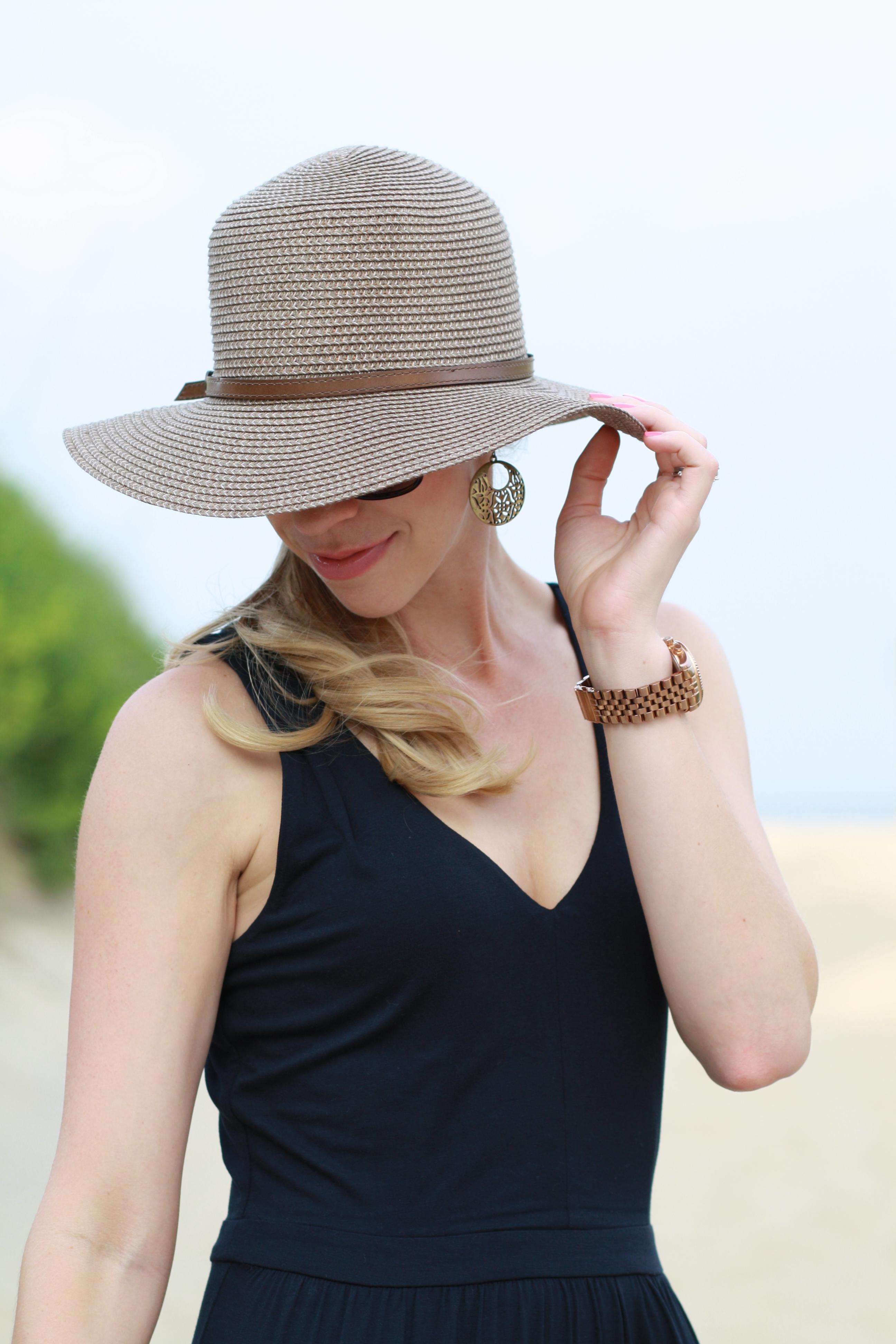 Peekaboo Maxi Dress Wedge Sandals Amp Floppy Straw Hat