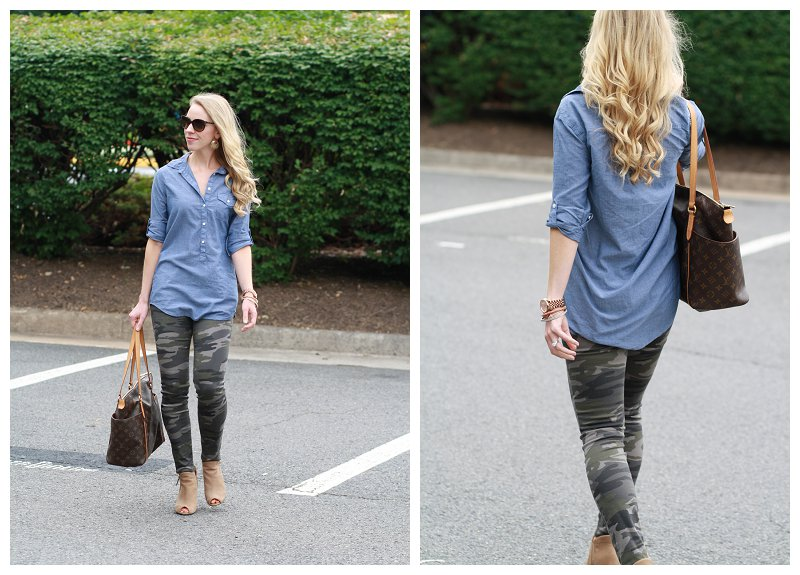 chambray denim button down tunic shirt, camo skinny jeans, Louis Vuitton tote, Stuart Weitzman tan peep-toe boots