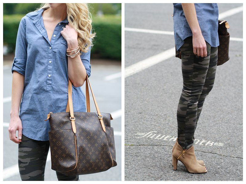 chambray denim tunic, camo legging skinnies, Louis Vuitton monogram tote, tan suede Stuart Weitzman peep-toe booties