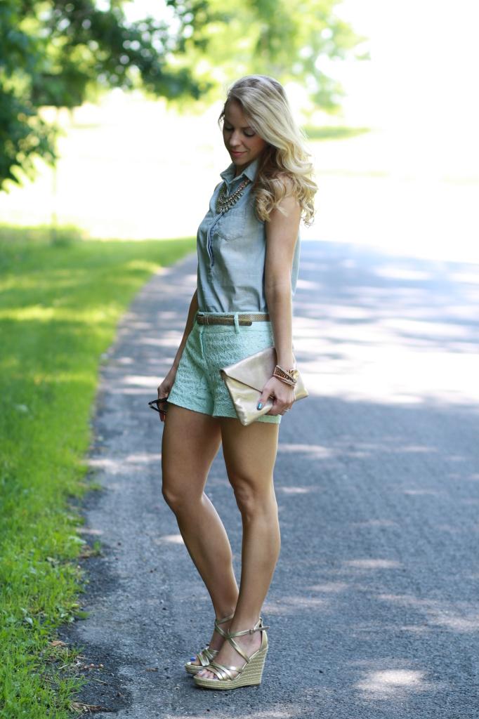 Chambray Amp Lace Sleeveless Denim Shirt Mint Shorts