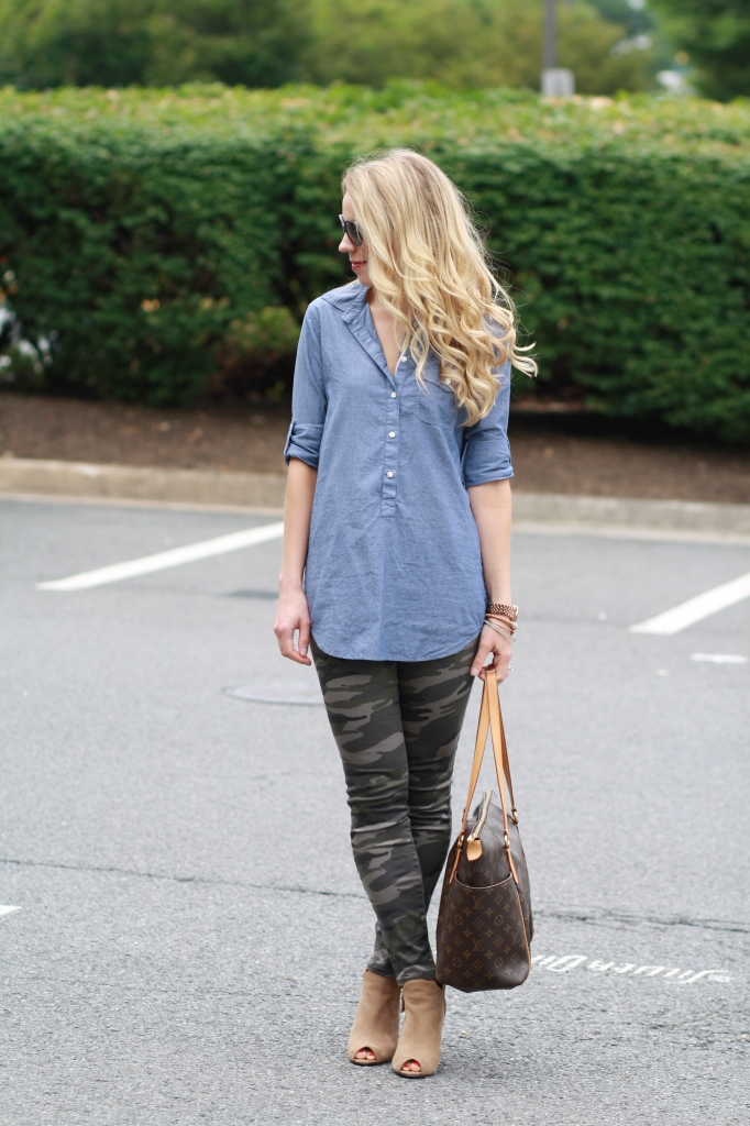 denim tunic button down shirt, camo legging pants, Stuart Weitzman Jump booties, Louis Vuitton MM tote