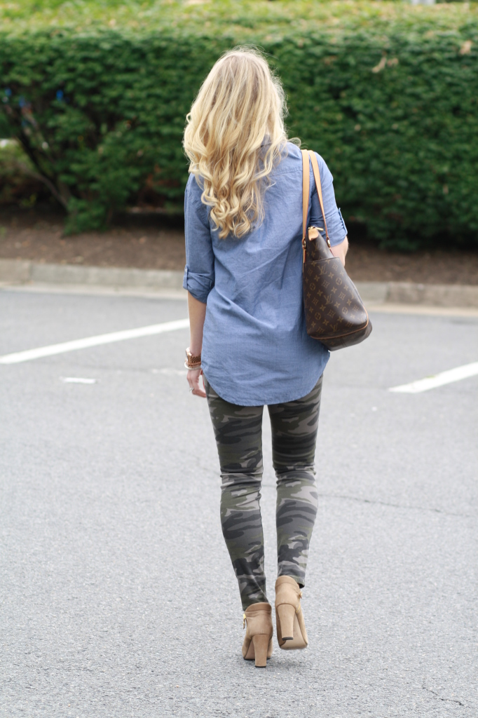 denim tunic shirt, camo leggings, camo pants, Louis Vuitton tote, Stuart Weitzman peep-toe booties