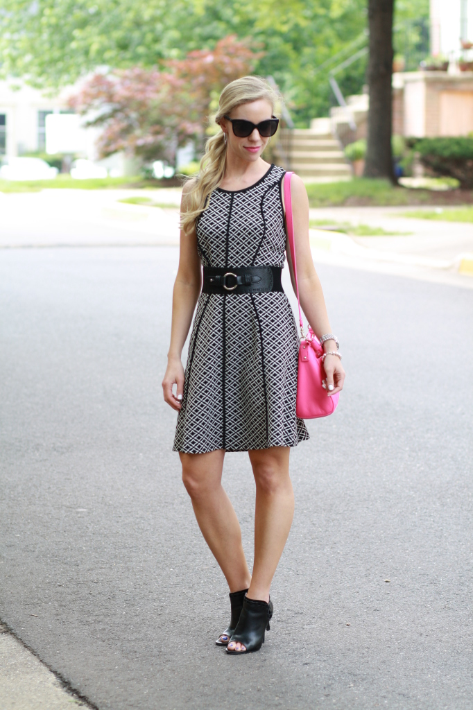Graphic Print Black And White Dress Open Toe Booties