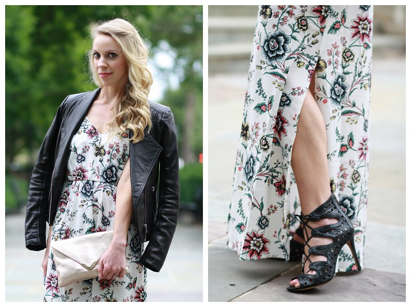 Edgy Floral Maxi Dress Moto Jacket Amp Lace Up Booties