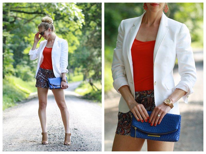 J. Crew white linen schoolboy blazer, orange tank, paisley shorts, cobalt blue Brahmin Duxbury clutch, tan peep-toe booties
