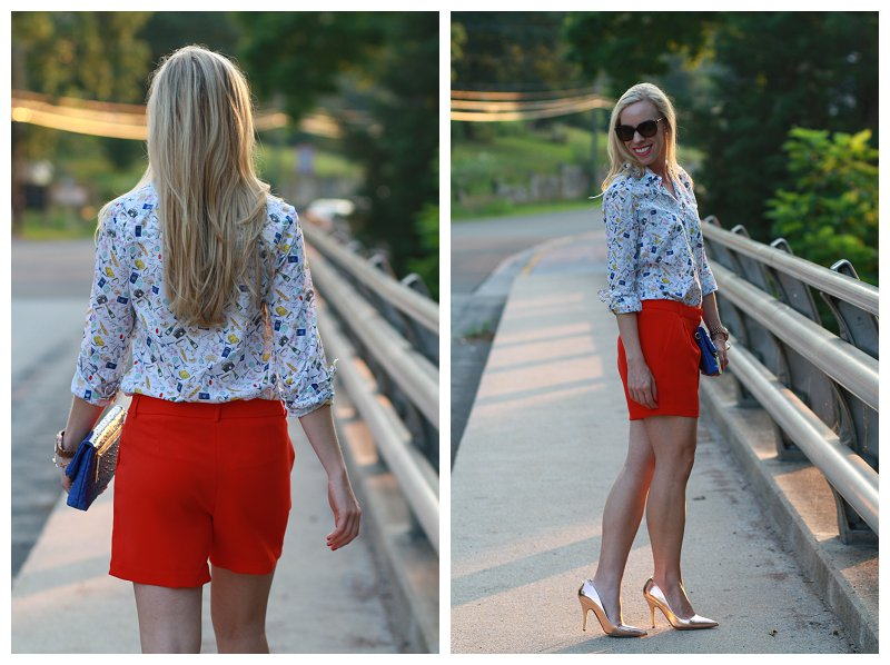 54965674a146 ... Parisian print popover shirt, red crepe dressy city pleated shorts,  cobalt clutch, ...
