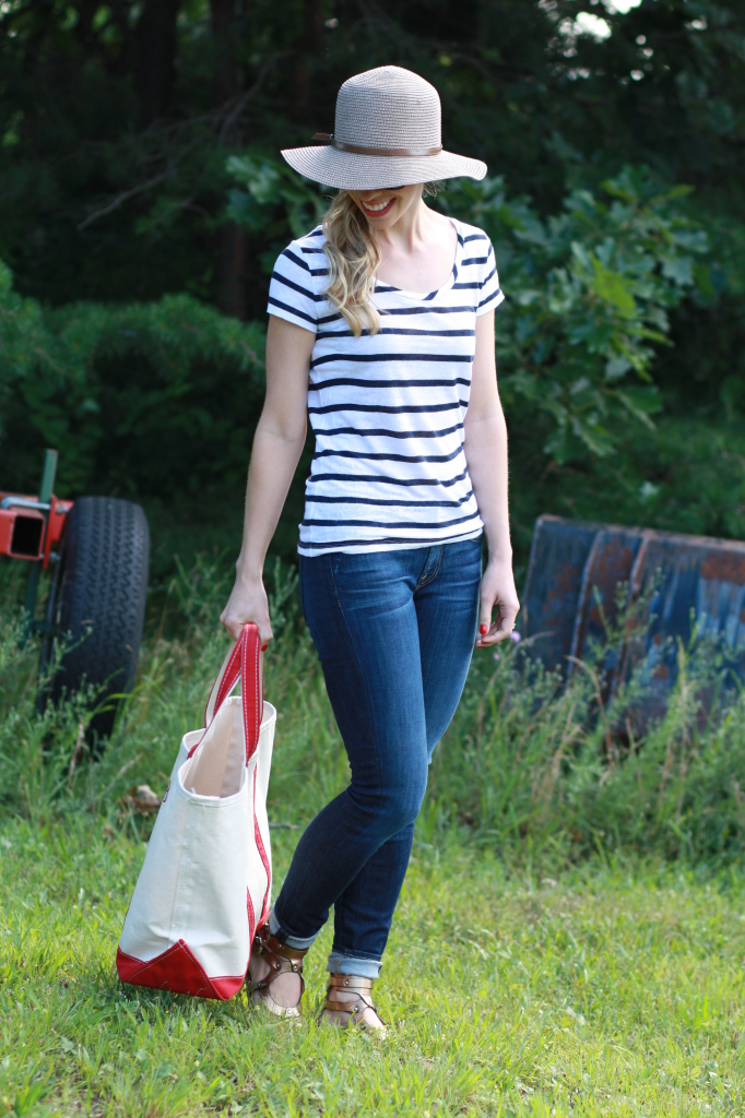 Blueberry Picking Navy Striped Tee Rolled Denim