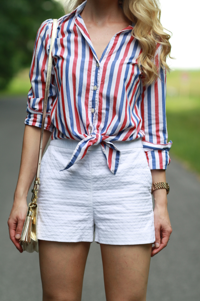 Patriotic style red white and blue stripes high for Red and white striped button down shirt