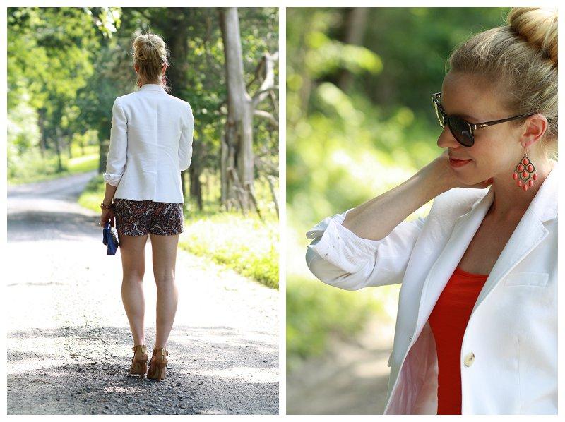 sock bun, white blazer, orange tank, paisley print shorts, cobalt clutch