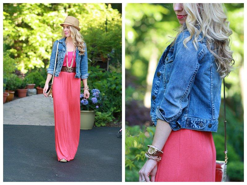 Punchy Colorblock Pink Maxi Dress Denim Jacket Amp Straw