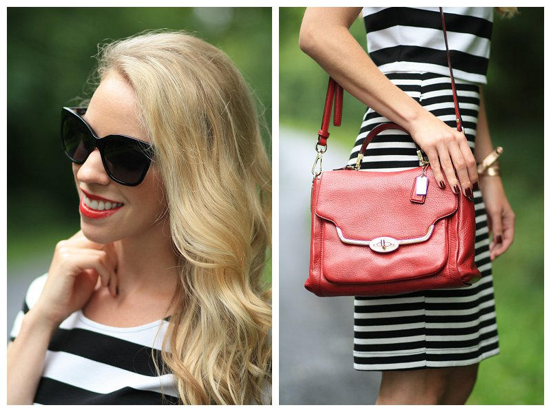 Bare Minerals Moxie Live it Up, red lipstick, Chanel black oversized cateye sunglasses, Coach red leather Madison crossbody bag