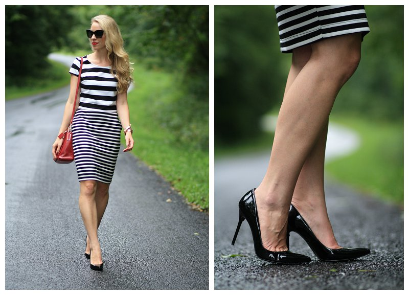 Express striped crop top, black and white striped pencil skirt, stripe mixing, stripe on stripe, Stuart Weitzman black patent Nouveau pumps, red Coach crossbody shoulder bag