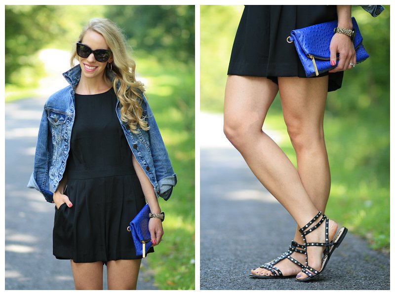 J. Crew Japenese distressed denim jacket, black Chanel oversized cateye sunglasses, LOFT black romper, cobalt blue Brahmin clutch, Sam Edelman black studded gladiator sandals