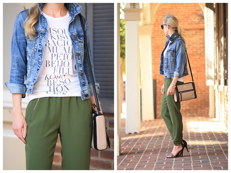 J. Crew distressed denim cropped jacket, graphic tee, J. Crew Turner pant, track pants with tapered ankle, olive fall outfit, Kate Spade colorblock black and tan bag, leopard ankle strap heels