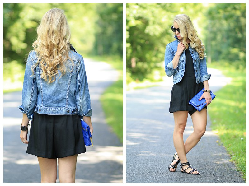 J. Crew vintage Japenese distressed denim cropped jacket, LOFT black romper, Sam Edelman black studded Berkeley gladiator sandals, cobalt blue Brahmin duxbury clutch, Chanel sunglasses
