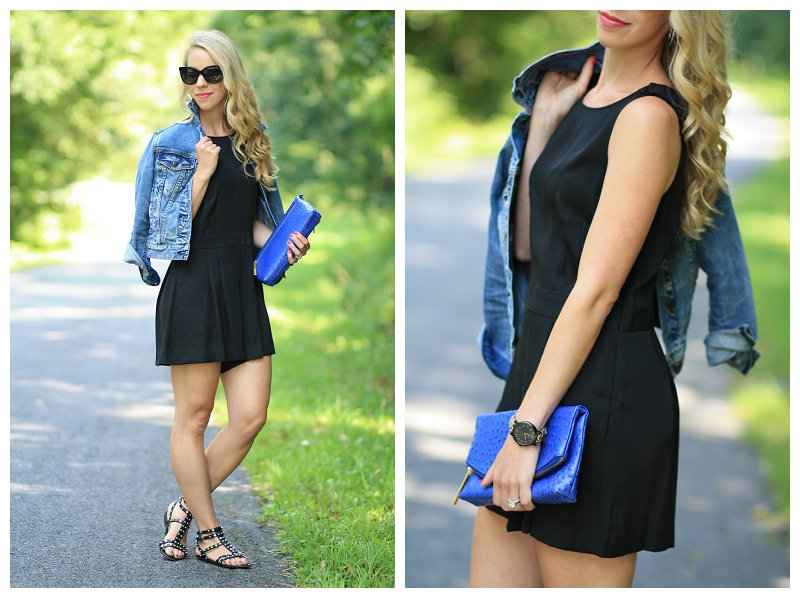 LOFT black romper, J. Crew distressed denim cropped jacket, cobalt blue Brahmin clutch, Sam Edelman black studded gladiator sandals