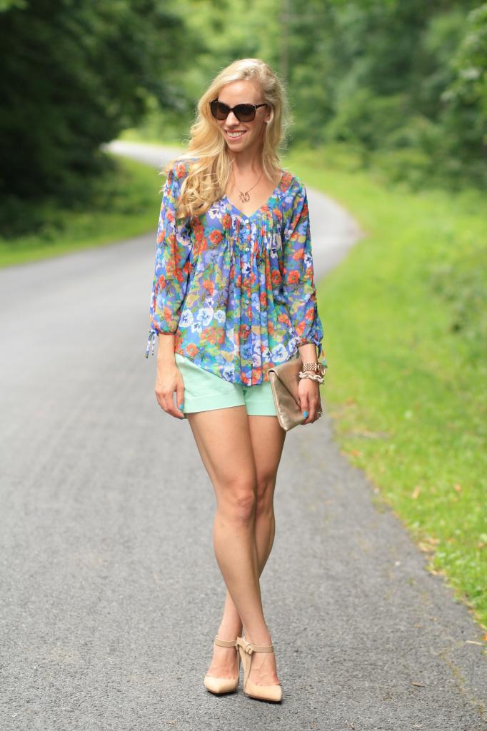 flower child  floral peasant blouse  mint shorts  u0026 bow pumps