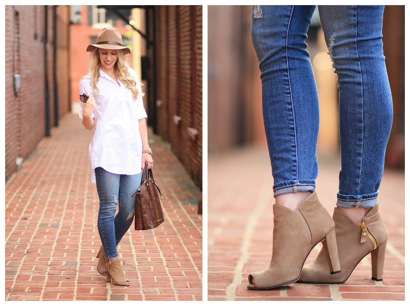 Laid Back Style White Button Down Tunic Distressed