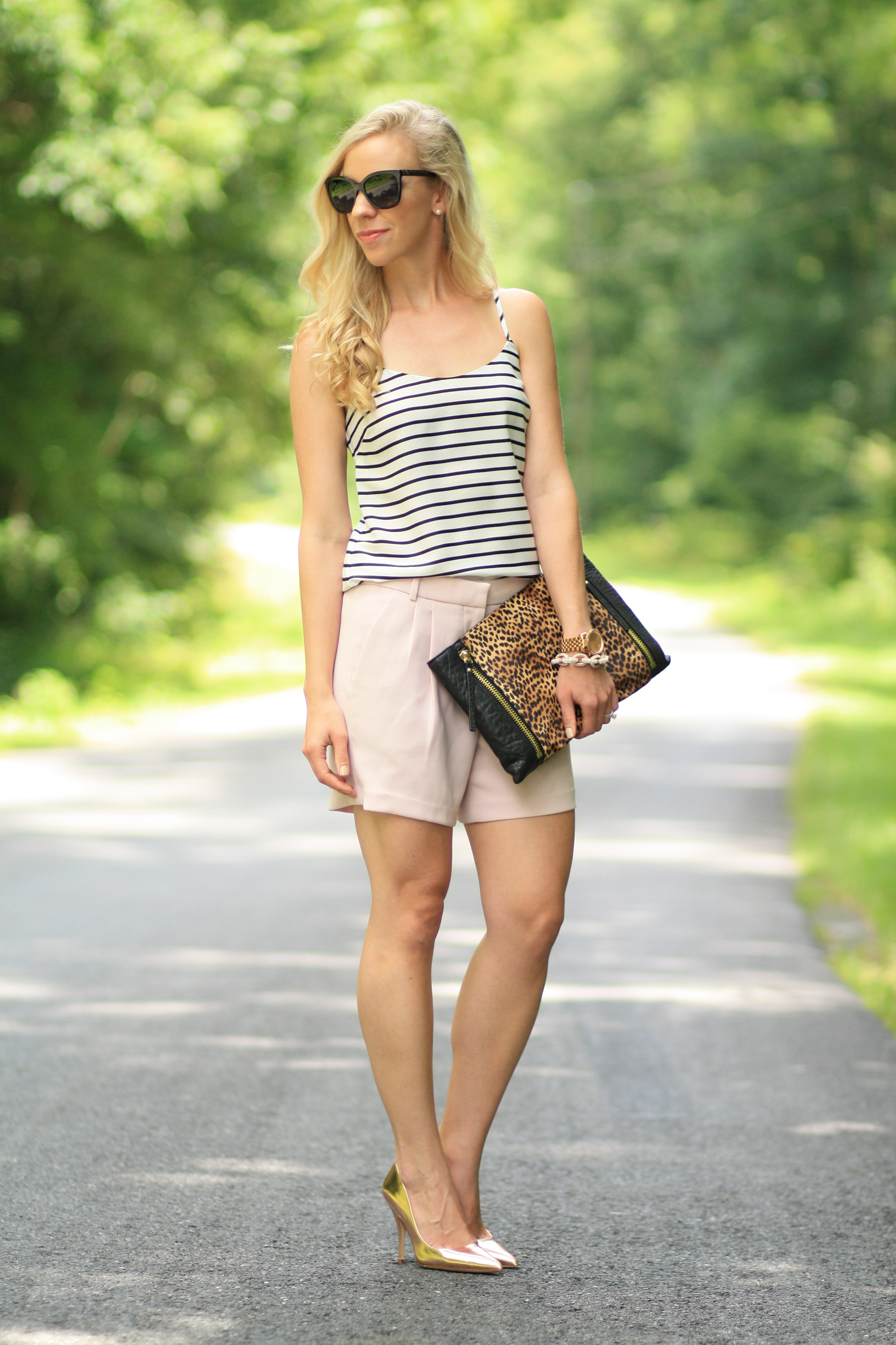 Style Trifecta Striped Cami Blush Pink Shorts
