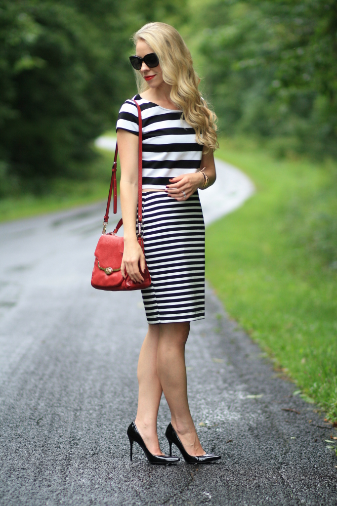 black and white striped crop top, black and white striped pencil skirt, stripe mixing, stripes with stripes outfit, stripe on stripe, Stuart Weitzman Nouveau black patent pump, red Coach crossbody bag