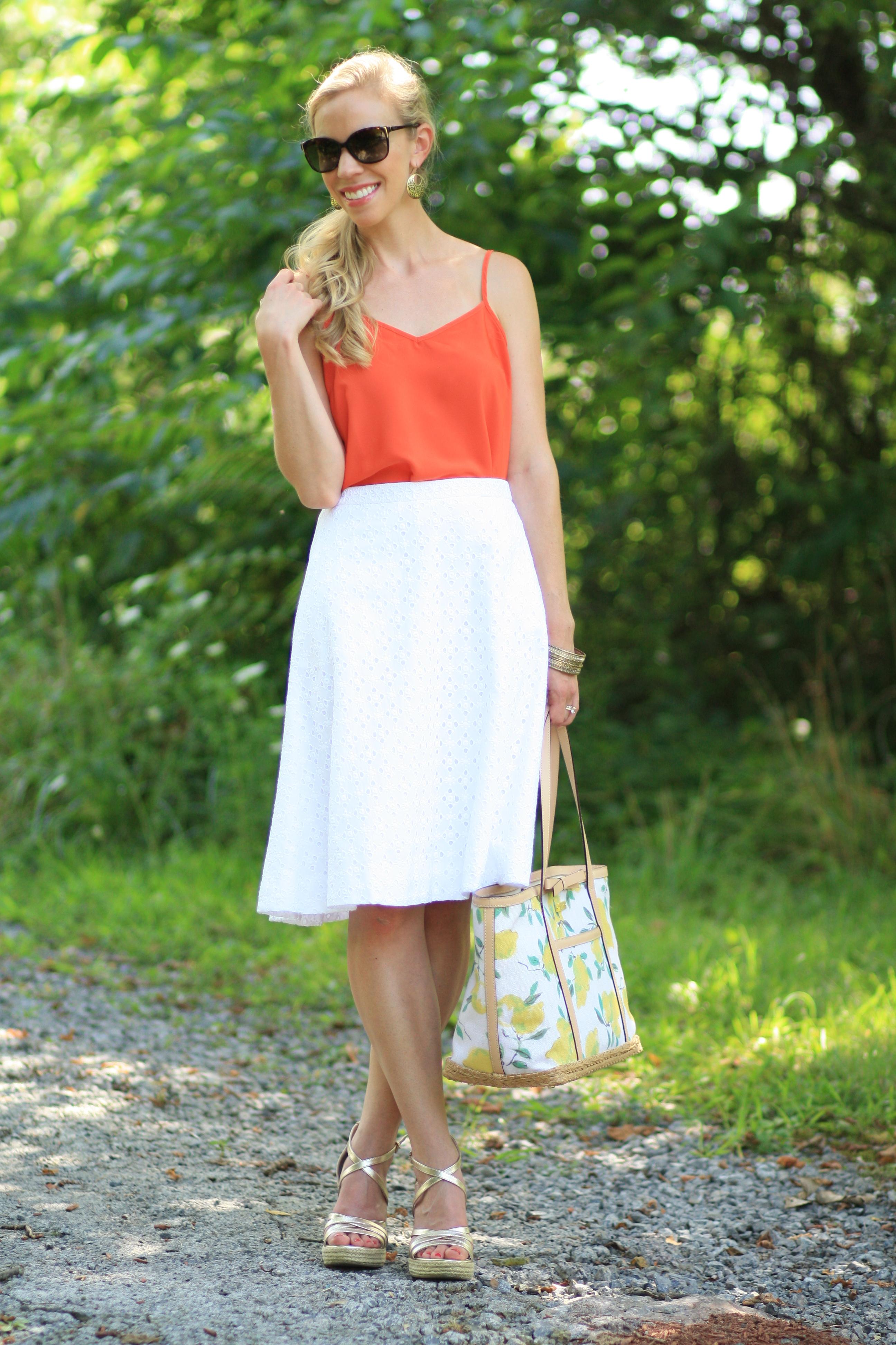 Citrus Eyelet: Orange cami, White midi skirt \u0026amp; Lemon-print tote }