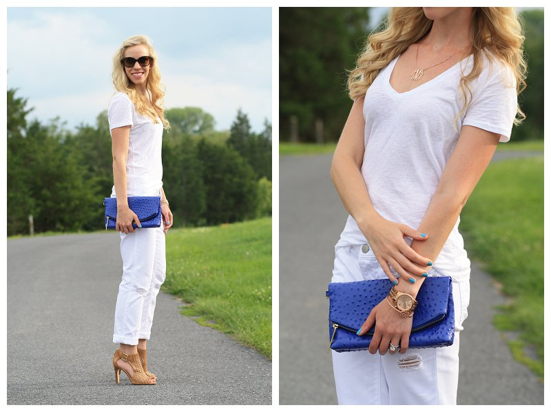 White Out: V-neck tee, Boyfriend jeans & Cobalt clutch }