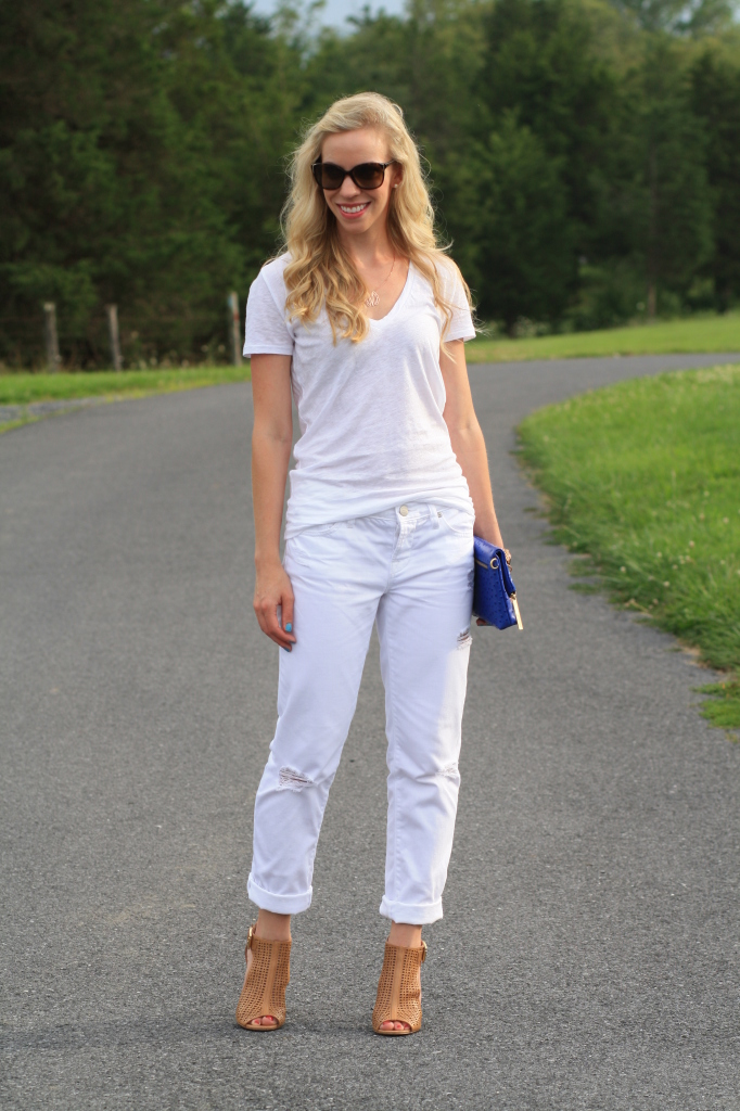 White Out V Neck Tee Boyfriend Jeans Amp Cobalt Clutch
