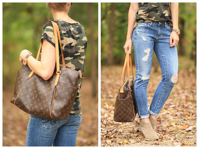 AG Adriano Goldschmied stilt cigarette 17 year riot, destructed denim, cuffed denim with suede ankle booties, Louis Vuitton Totally MM tote, camo tee shirt