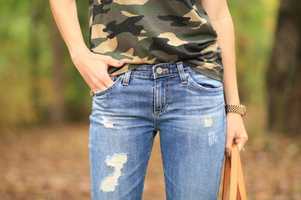 AG stilt cigarette jeans, destructed denim, J. Crew vintage camo tee