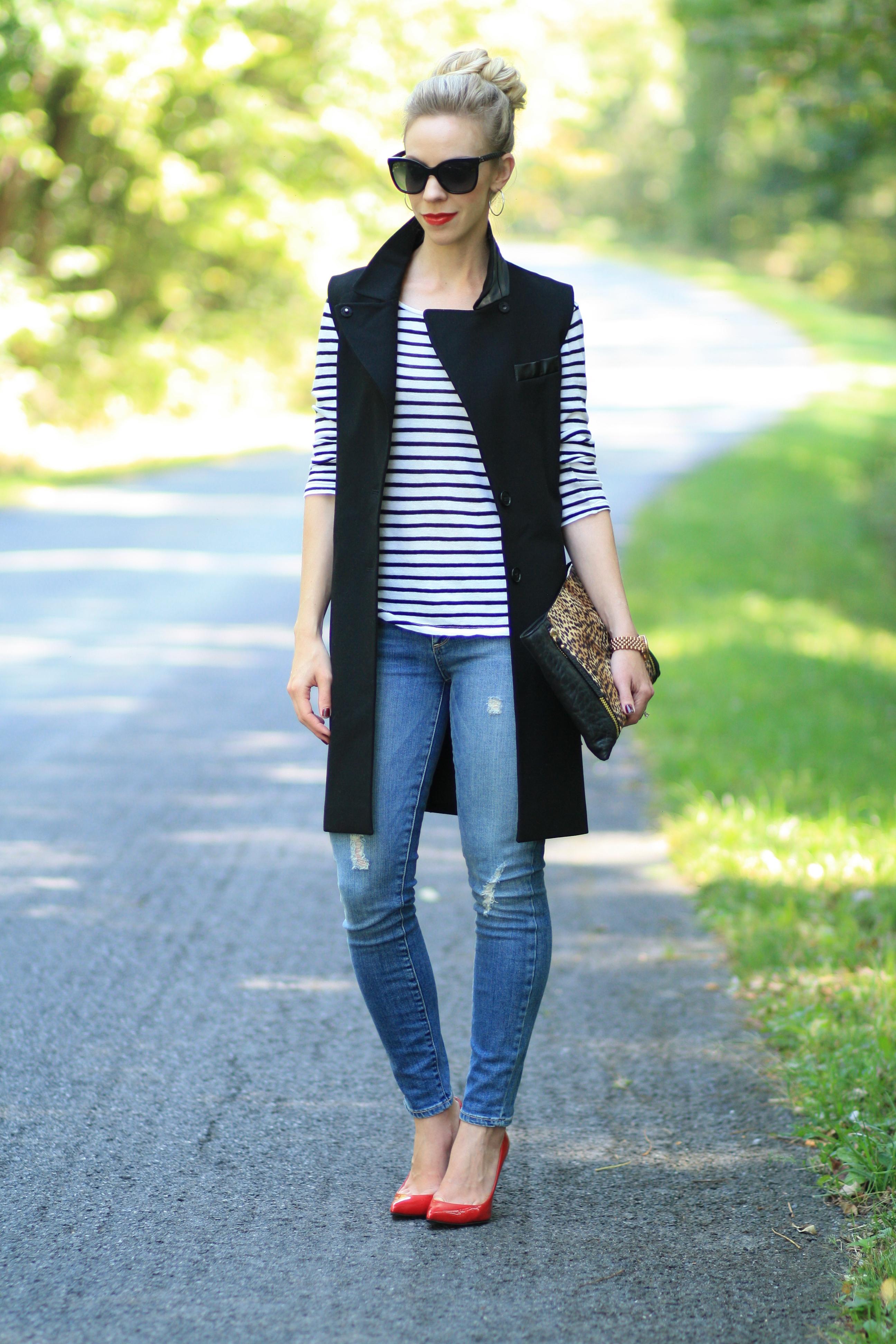 Two Ways To Wear Faux Leather Trim Long Vest Meagan