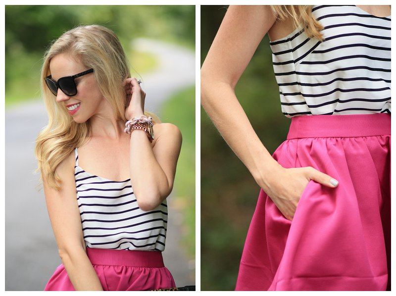 Chanel black cateye sunglasses, black and white striped silk camisole, hot pink full midi skirt, fuchsia pink midi skirt, skirt with pockets, rose gold bracelets, chain link pave bracelet