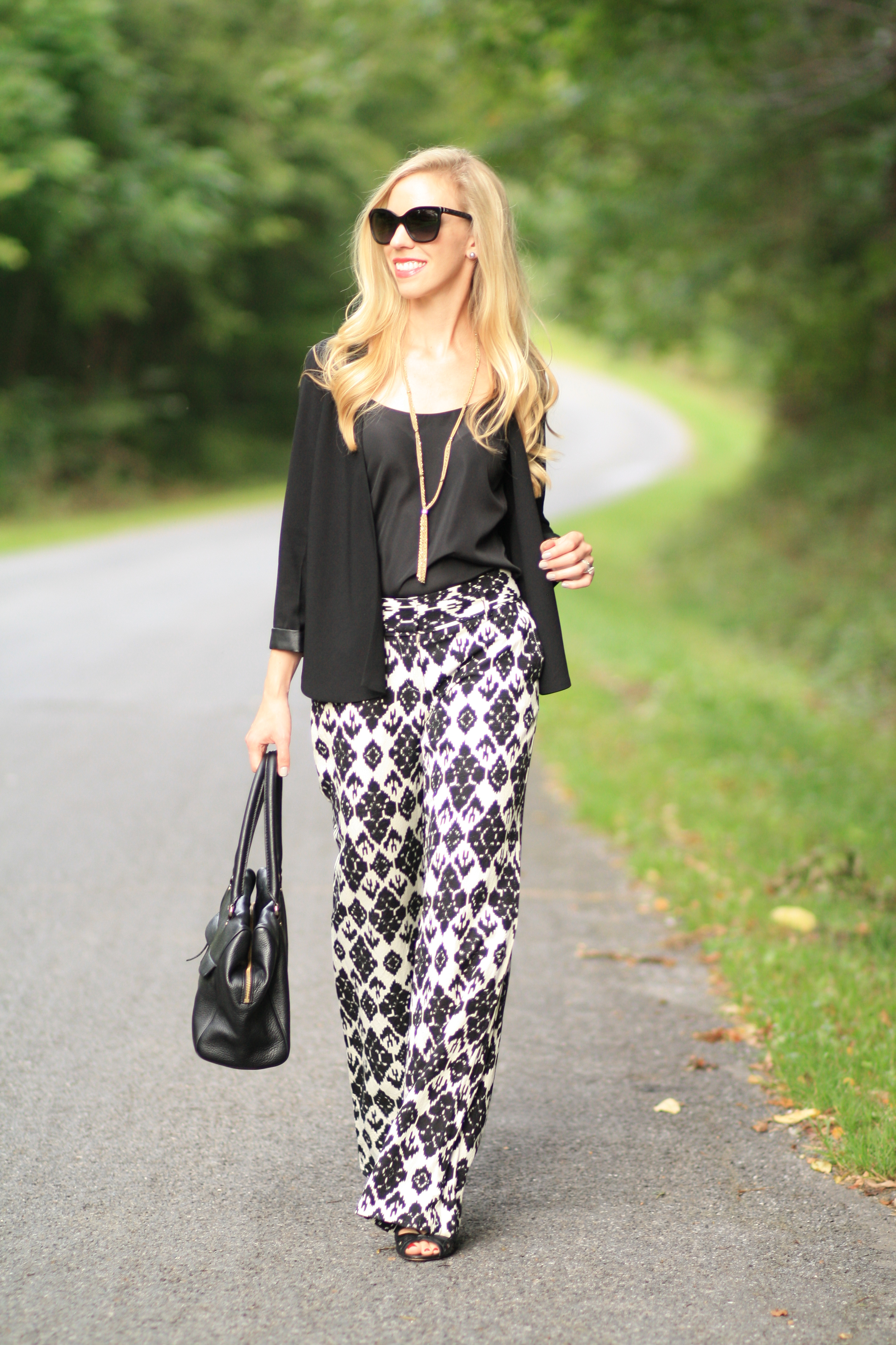 Two Ways To Wear Black And White Ikat Print Separates