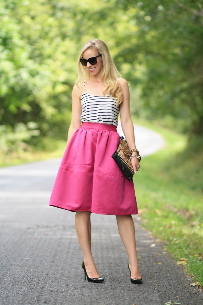 Express fuchsia pink full midi skirt, retro style, retro midi skirt, black and white striped camisole, leopard clutch, stripes and leopard, pattern mixing, black patent Stuart Weitzman Nouveau pump