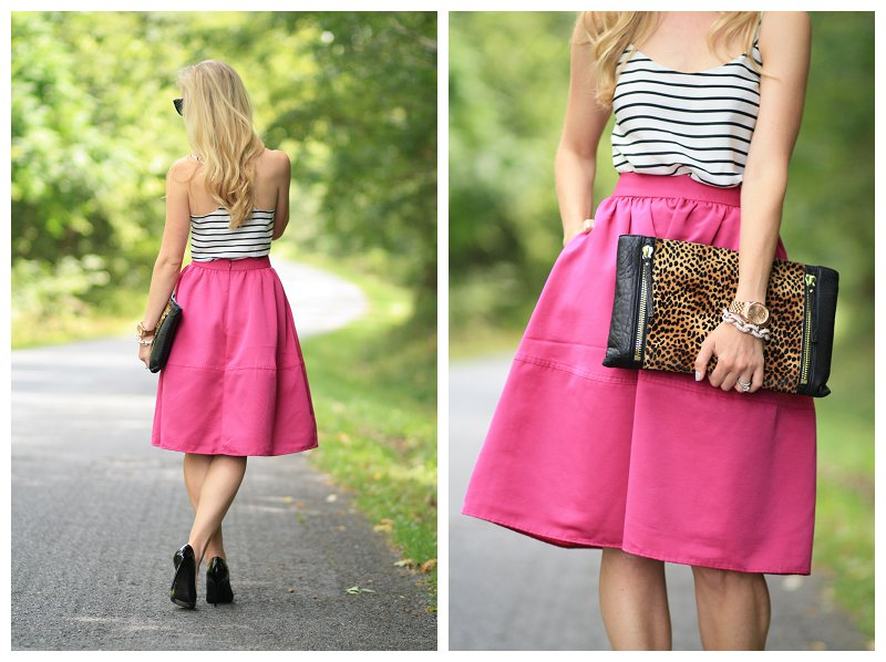 Express fuchsia pink full midi skirt, retro style skirt, black and white striped top, leopard clutch, pattern mixing, black patent pumps, stripes and leopard print