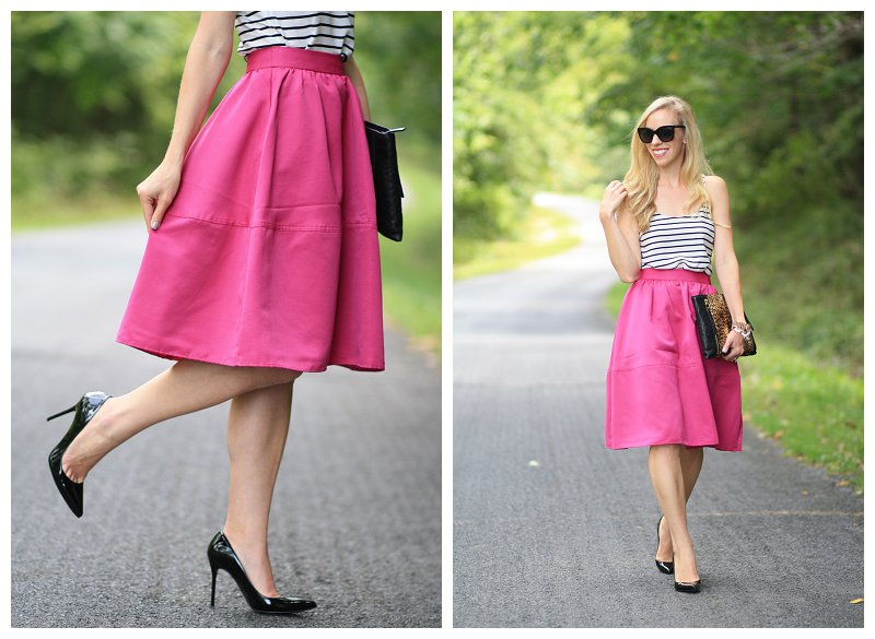 Express hot pink rose full midi skirt, retro style skirt, black and white striped camisole, Stuart Weitzman black patent Nouveau pump, Chanel black sunglasses