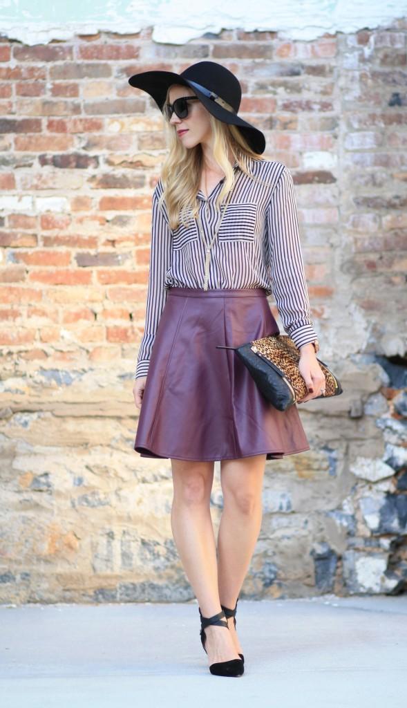 Stripes Amp Leather Silky Blouse Burgundy Circle Skirt