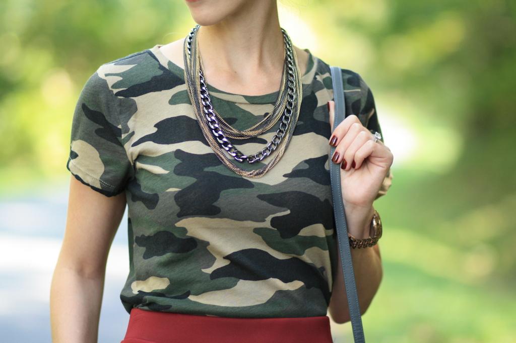 J. Crew vintage camo tee, layered metallic statement necklace, Essie 'berry naughty' burgundy nails, high waist burgundy midi skirt