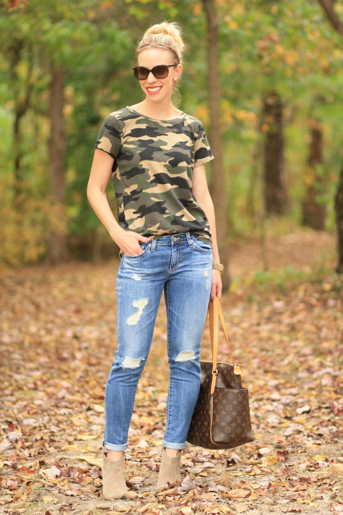 J. Crew vintage camo tee shirt, AG stilt cigarette 17 year riot, destructed denim, cuffed jeans with ankle boots, Louis Vuitton Totally MM tote