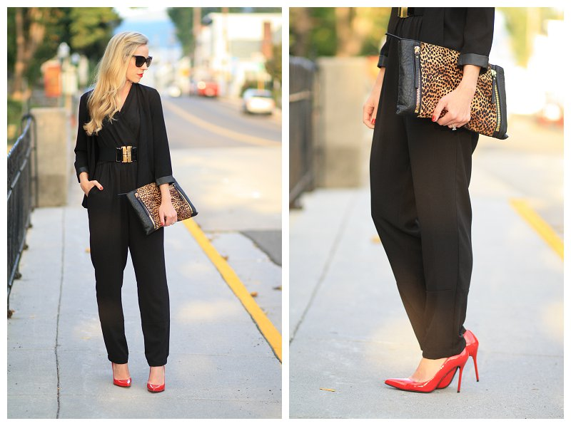 Stuart Weitzman red patent Nouveau pumps, Vince Camuto leopard calf hair clutch, black jumpsuit with leather trim blazer, transitioning a jumpsuit for fall